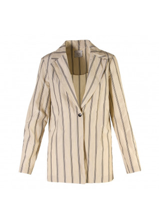 WOMEN'S CLOTHING JACKET BLAZER IN COTTON STRIPED BEIGE GREY ALYSI