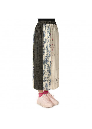 WOMEN'S CLOTHING SKIRT PLEATED PEARL BEIGE / MULTICOLOR PRINT ALYSI