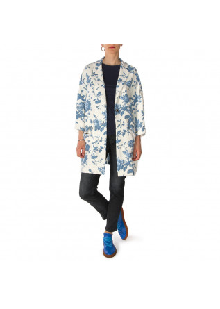 WOMEN'S CLOTHING OVERCOAT FLORAL PRINT BLUE WHITE SEMICOUTURE