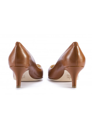 WOMEN'S SHOES PUMPS DECOLLETE LEATHER CARAMEL BROWN L'ARIANNA