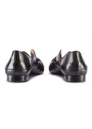 WOMEN'S SHOES FLATS POINTED LEATHER BLACK POESIE VENEZIANE