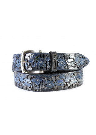 MEN'S ACESSORIES BELT LASER CUT HAND PAINTED FLORAL DECO BLUE ORCIANI