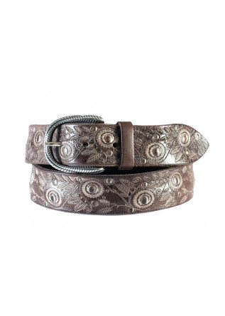 MEN'S ACESSORIES BELT LASER CUT LEATHER HAND PAINTED DARK BROWN ORCIANI