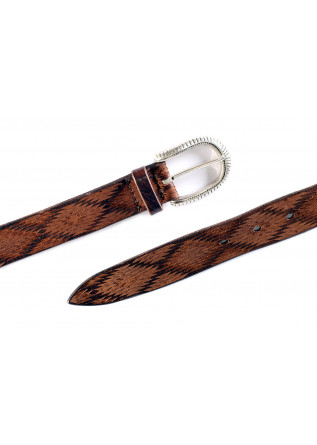 MEN'S ACCESSORIES BELT LEATHER LASER CUT VINTAGE EFFECT BROWN ORCIANI