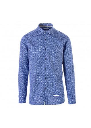 MEN'S CLOTHING SHIRT LIGHT COTTON FLOWER PRINT BLUE TINTORIA MATTEI 954