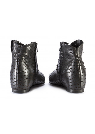 WOMEN'S SHOES ANKLE BOOTS POINTED TOE CARVED LEATHER BLACK REPKO