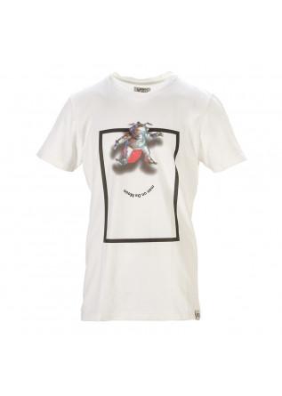 UNISEX CLOTHING T-SHIRT ORGANIC COTTON MAN ON DA MOON PRINT WHITE WRAD