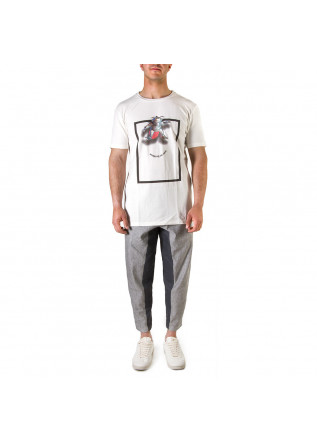 UNISEX CLOTHING T-SHIRT ORGANIC COTTON MAN ON DA MOON PRINT WHITE WRAD