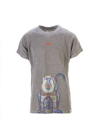UNISEX CLOTHING T-SHIRT GRAPHI-TEE ORGANIC COTTON APE PRINT GREY WRAD