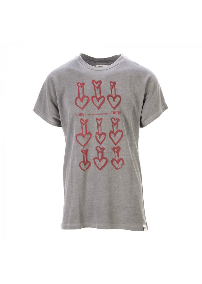 UNISEX CLOTHING T-SHIRT GRAPHI-TEE BIO COTTON 'HEARTS' PRINT GREY WRAD