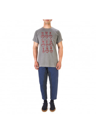 UNISEX CLOTHING T-SHIRT GRAPHI-TEE BIO COTTON 'HEARTS' PRINT GREY WRAD