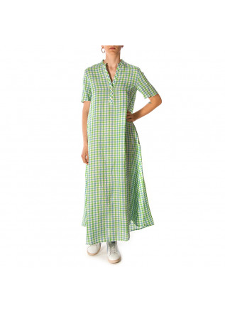 WOMEN'S CLOTHING LONG DRESS VICHY GREEN WHITE CELESTE OTTOD'AME