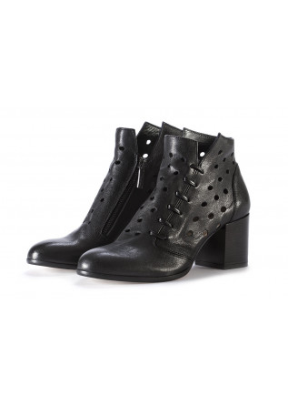 WOMEN'S SHOES ANKLE BOOTS PERFORATED LEATHER BLACK SALVADOR RIBES