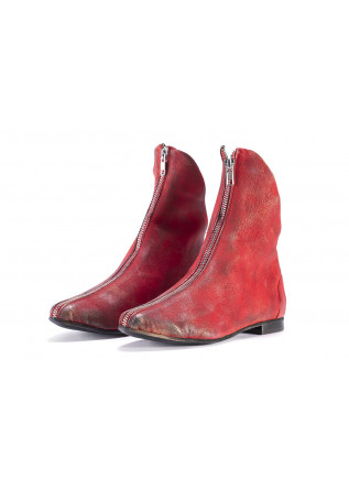 WOMEN'S SHOES ANKLE BOOTS LEATHER RED PAPUCEI
