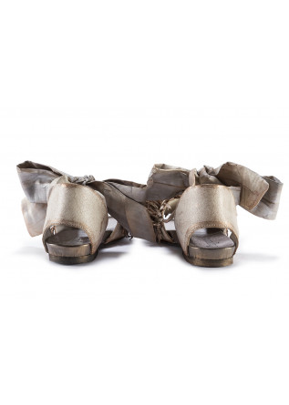 WOMEN'S SHOES SANDALS LEATHER WITH ANKLE RIBBON BEIGE BRONZE PAPUCEI