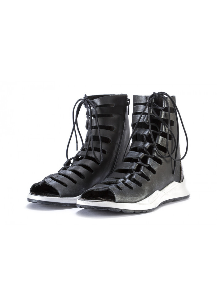 WOMEN'S SHOES SANDALS 'GLADIATOR' LEATHER BLACK METALLIC PAPUCEI
