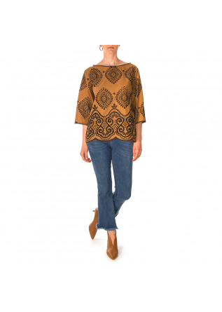 WOMEN'S CLOTHING SHIRT 3 / 4 SLEEVES BROWN BLACK OTTOD'AME