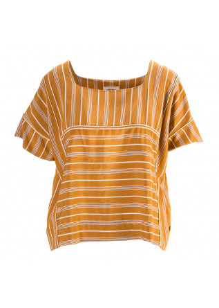 WOMEN'S CLOTHING SHIRT CARAMEL BROWN STRIPES BLUE / WHITE OTTOD'AME