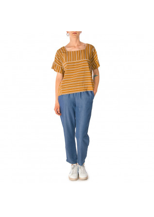 WOMEN'S CLOTHING SHIRT CARAMEL BROWN STRIPES BLUE / WHITE OTTOD'AME