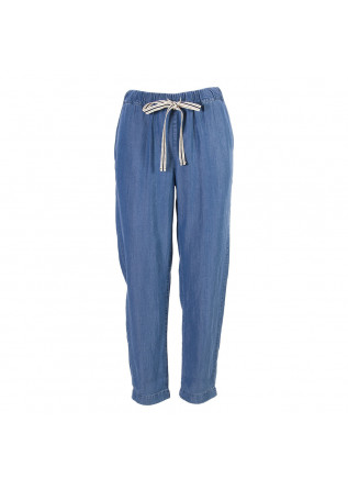 WOMEN'S CLOTHING TROUSERS BLUE DENIM SEMICOUTURE