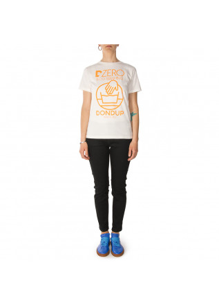 WOMEN'S CLOTHING T-SHIRT COTTON WHITE ORANGE DONDUP