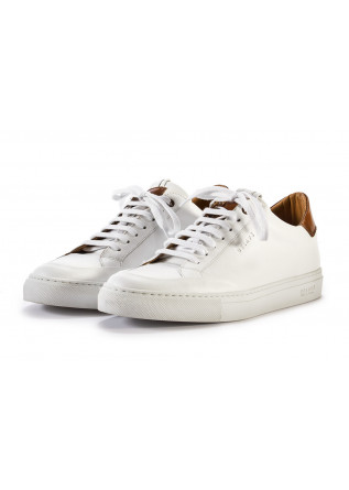 MEN'S SHOES SNEAKERS LACE UP LEATHER WHITE BROWN DELAVE'