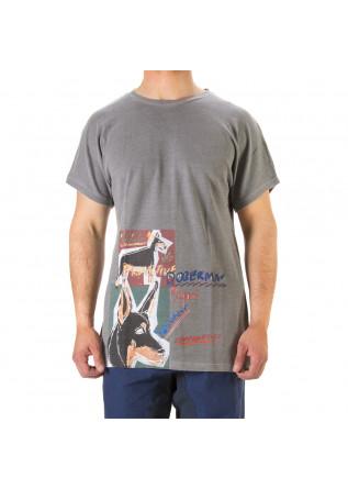 UNISEX CLOTHING T-SHIRT GRAPHI-TEE PRINT 'DOBERMANN' GREY WRAD