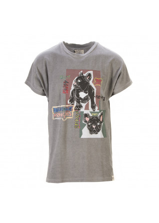UNISEX CLOTHING T-SHIRT GRAPHI-TEE BIO COTTON 'BULLDOG' PRINT GREY WRAD