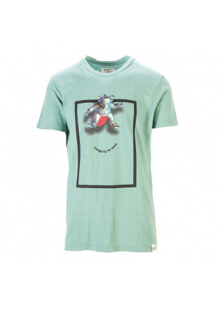 UNISEX CLOTHING T-SHIRT ORGANIC COTTON PRINT MAN ON DA MOON GREEN WRAD