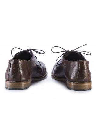 MEN'S SHOES LACE-UP FLAT'S IN LEATHER BROWN TON GOUT