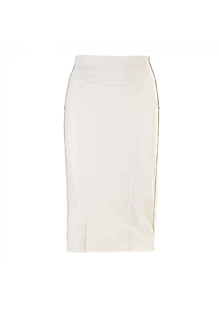 WOMEN'S CLOTHING SKIRT LONGUETTE COTTON STRETCH CHALK WHITE 8PM