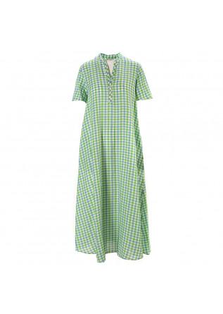 WOMEN'S CLOTHING LONG DRESS VICHY GREEN WHITE CELESTE OTTOD'AME