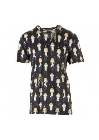 MEN'S CLOTHING T-SHIRT PRINT BLACK MULTICOLOR DANIELE FIESOLI