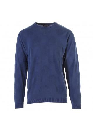 MEN'S CLOTHING SWEATER COTTON KNIT BLUE AVIO WOOL & CO