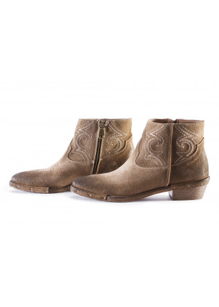 WOMEN'S SHOES ANKLE BOOTS SUEDE HAZELNUT BROWN REP-KO