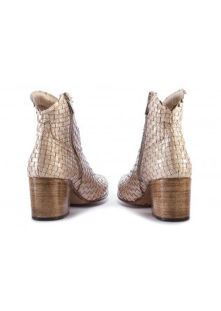 WOMEN'S SHOES BOOTS WOVEN LEATHER HANDMADE BEIGE PAKROS