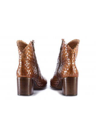 WOMEN'S SHOES BOOTS WOVEN LEATHER CARAMEL BROWN PAKROS
