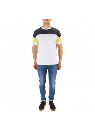 MEN'S CLOTHING T-SHIRT WHITE/DARK BLUE/YELLOW DANIELE FIESOLI