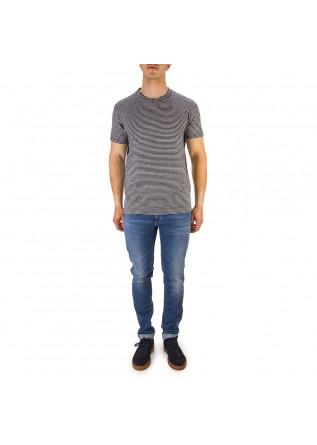 MEN'S CLOTHING T-SHIRT STRETCH LINEN STRIPES BLACK / WHITE DANIELE FIESOLI
