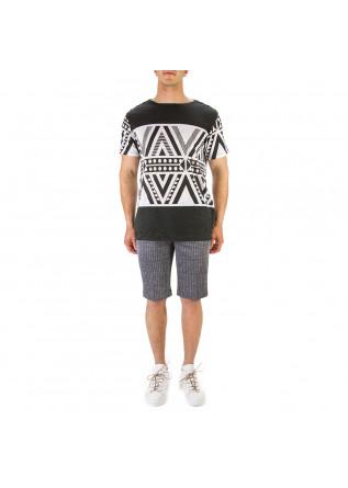 MEN'S CLOTHING T-SHIRT LINEN BLACK WHITE DANIELE FIESOLI