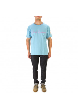 MEN'S CLOTHING T-SHIRT COTTON LIGHT SKY BLUE BEST COMPANY