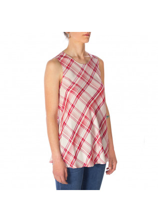 WOMEN'S CLOTHING TOP VISCOSE TARTAN RED BEIGE ALYSI