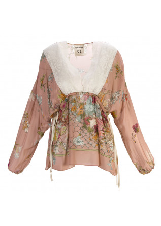 WOMEN'S CLOTHING SHIRT PINK FLORAL PRINT VISCOSE SEMICOUTURE