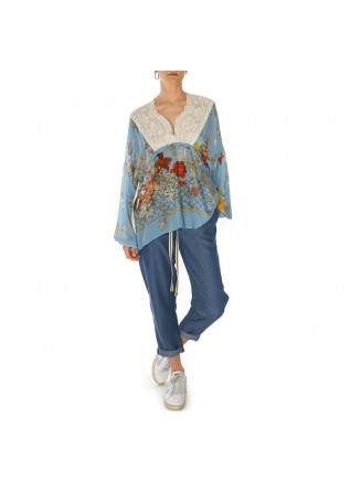 WOMEN'S CLOTHING SHIRT LIGHT BLUE GEORGETTE VISCOSE SEMICOUTURE