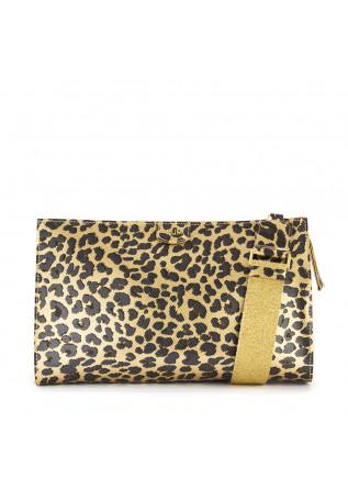 WOMEN'S BAGS CLUTCH / SHOULDER BAG BROWN GOLD LEOPARD GUM CHIARINI