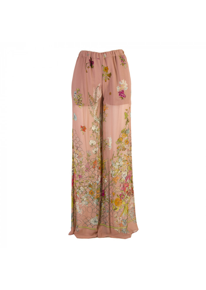 WOMEN'S CLOTHING PALAZZO PANTS VISCOSE FLORAL PRINT PINK SEMICOUTURE