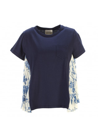 WOMEN'S CLOTHING T-SHIRT COTTON NAVY BLUE / WHITE SEMICOUTURE