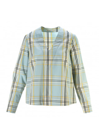 WOMEN'S CLOTHING SHIRT COTTON BLUE / YELLOW TARTAN PHISIQUE DU ROLE