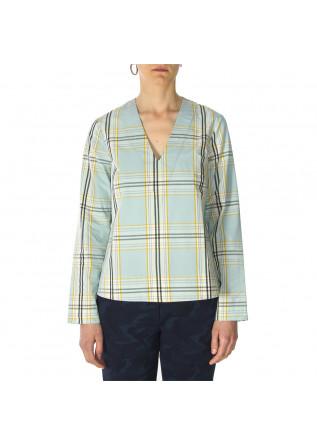 WOMEN'S CLOTHING SHIRT COTTON BLUE / YELLOW TARTAN PHISIQUE DU ROLE
