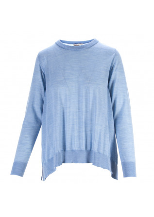 WOMEN'S CLOTHING SWEATER VIRGIN WOOL LIGHT BLUE SEMICOUTURE